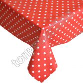 Polkadot Red and White Plastic Tablecloth Wipe Clean Pvc Vinyl