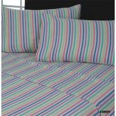 Flannelette 100% Cotton Flat Sheet Candy Stripe