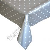 Polkadot Silver and White Plastic Tablecloth Wipe Clean Pvc Vinyl