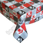 Check Flower Red Plastic Tablecloth Wipe Clean Pvc Vinyl