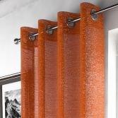 Glitter Sparkle Ring Top Voile Curtain Panel - Orange
