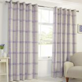 Denver Check Thermal Blackout Ring Top Curtains - Heather