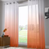 Harmony Modern Ring Top Voile Curtain Panel - Orange