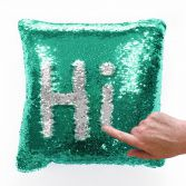 Mermaid Sequin Cushion Cover 22 Inch - Green & Silver