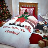 Catherine Lansfield Christmas Selfie Elfie Single Duvet Cover Set