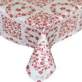 Red Hearts & Flowers Plastic Tablecloth Wipe Clean Pvc Vinyl