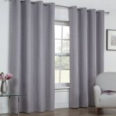 Linen Look Textured Thermal Blackout Ring Top Curtains - Silver Grey