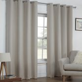 Linen Look Textured Thermal Blockout Ring Top Curtains - Natural