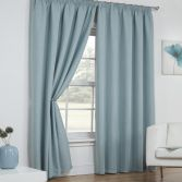 Linen Look Textured Thermal Blockout Tape Top Curtains - Duck Egg Blue