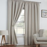 Linen Look Textured Thermal Blockout Tape Top Curtains - Natural