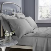 Catherine Lansfield 500 Thread Count Cotton Rich Flat Sheet Grey