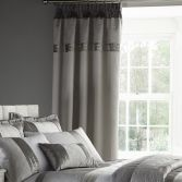 Catherine Lansfield Gatsby Luxury Silver Tape Top Curtains