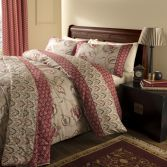 Catherine Lansfield Kashmir Red & Natural Duvet Cover Set