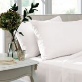 Catherine Lansfield Pair of Non Iron Percale Combed Polycotton Housewife Pillowcases - White