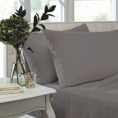 Catherine Lansfield Pair of Non Iron Percale Combed Polycotton Housewife Pillowcases - Grey