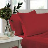 Catherine Lansfield Non Iron Percale Combed Polycotton Standard Pillowcases - Red