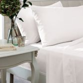 Non Iron Percale Combed Polycotton Flat Sheet - White