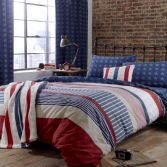 Catherine Lansfield Red, White & Blue Stars and Stripes Duvet Cover Set