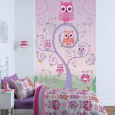 Catherine Lansfield Pink Owls Wall Art