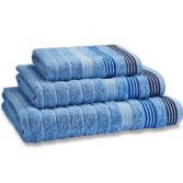 Catherine Lansfield Garrat Stripe 100% Cotton Towel - Blue