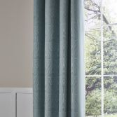 Catherine Lansfield Luxury Ornate Jacquard Fully Lined Eyelet Curtains - Duck Egg Blue