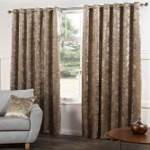 Kensington Crushed Velvet Fully Lined Ring Top Eyelet Curtains - Champagne Gold Natural