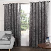 Kensington Crushed Velvet Fully Lined Ring Top Eyelet Curtains - Steel Silver Grey