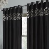 Rio Sequin Eyelet Ring Top Fully Lined Curtains - Black