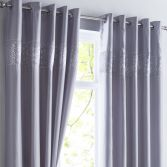 Shimmer Sequin Fully Lined Ring Top Curtains - Silver Grey