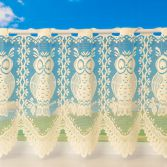 Owl Design Cafe Net Curtain - Cream