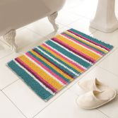 Luxury Chenille Soft Microstripe Bath Mat/Rug - Multi