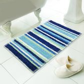 Luxury Chenille Soft Microstripe Bath Mat/Rug - Blue