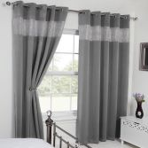 Carla Diamante Blackout Ring Top Curtains - Silver