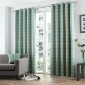 Burton Check Eyelet Ring Top Fully Lined Curtains - Duck Egg Blue