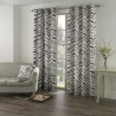 Kato Chevron Eyelet Ring Top Fully Lined Curtains - Black Grey Cream