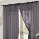 Lucy Slot Top Pair of Voile Curtains - Silver Grey