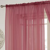 Lucy Slot Top Voile Curtain Panel - Red