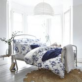 Bianca 100% Cotton Soft Sprig Floral Duvet Cover Set - Blue