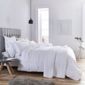 Bianca 100% Cotton Soft Waffle Stripe Duvet Cover Set - White