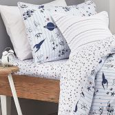 Kids Bianca 100% Cotton Soft Star Print Fitted Sheet - Blue