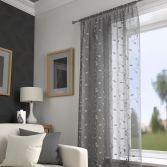 Harrogate Leaf Voile Curtain Panel - Grey