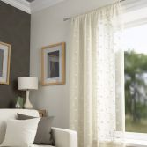 Harrogate Leaf Voile Curtain Panel - Ivory Cream