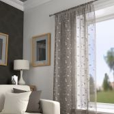 Harrogate Leaf Voile Curtain Panel - Taupe Natural