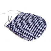 Chevron Tie On Seat Pad - Navy