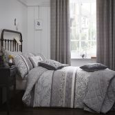 Hanworth Floral Stripe Reversible Duvet Cover Set - Charcoal Grey