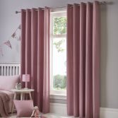 Sorbonne Plain Lined Eyelet Curtains - Blush Pink