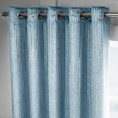Velvet Sparkle Glitter Stripe Fully Lined Ring Top Curtains - Duck Egg Teal