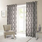 Woodland Trees Fully Lined Eyelet Curtains - Charcoal Grey