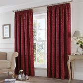 Cotton Rich Jacquard Fully Lined Tape Top Curtains - Burgundy Red