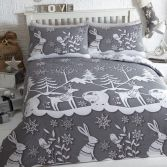 Mountain Snow Duvet Cover Set Grey